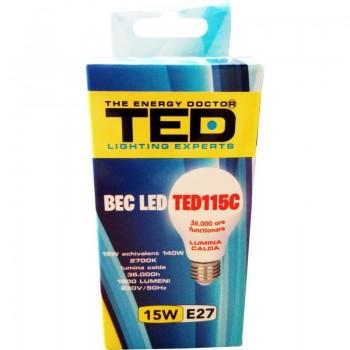 Bec LED E27, 15W, 2700K, 36.000h
