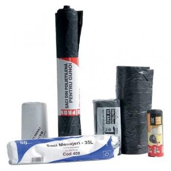 Saci menajeri 60 l, 60 x 72 cm, HDPE, negru, 50 bucati/rola