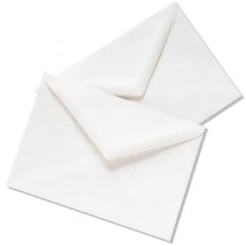 Plic LC/6, 114 x 162 mm, traditional, cu clapa in V, alb, 25 bucati/set
