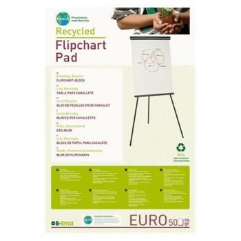 Hartie pentru flipchart Bi-Silque, reciclata, 100 x 65 cm, 55 g/mp, alba, 50 coli/top