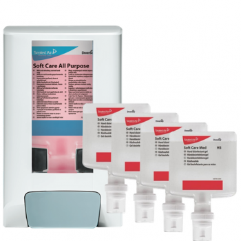 Pachet dispenser + 4x dezinfectant pentru maini - Soft Care Med H5 1.3l