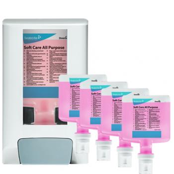 Pachet dispenser + 4x sapun lichid Soft Care All Purpose 1.3l