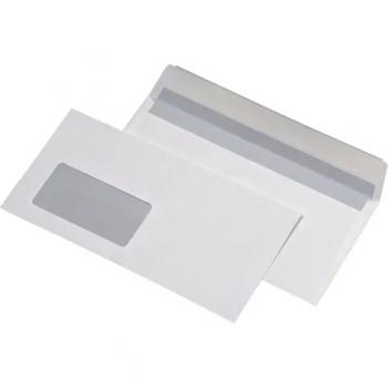 Plic DL, 110 x 220 mm, autoadeziv, cu fereastra stanga, alb, 25 bucati/set