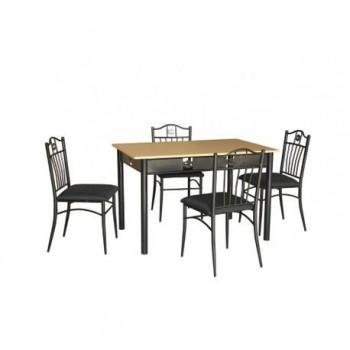 Set masa Rimini + 4 scaune, MDF, negru