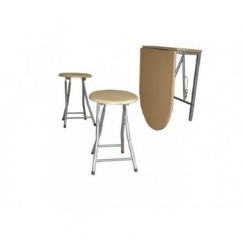 Masa de perete pliabila + 2 scaune Napoli, MDF, stejar alb