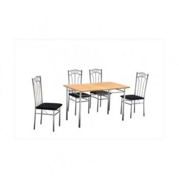 Set masa Emma + 4 scaune, MDF, natur