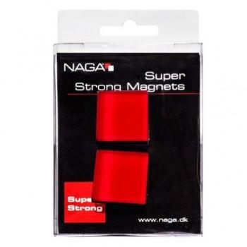 Magneti patrati Naga din sticla, rosu, 2 bucati/set