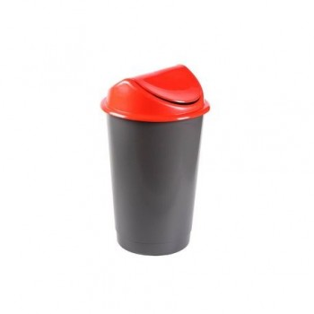 Cos gunoi deseuri selective, cu capac batant, 60L, rosu