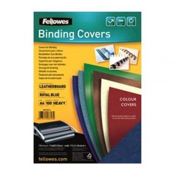 Coperti carton Fellowes A4, 250gr, imitatie piele, albastru, 100/top