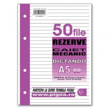 Rezerva caiet mecanic Pigna A5 cu 4 inele, 50 file, dictando