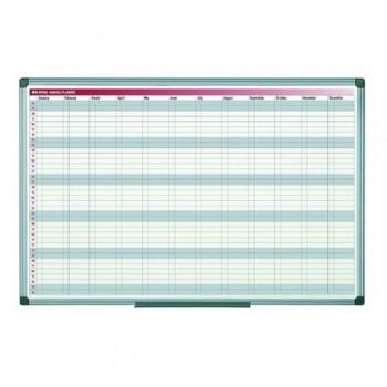 Planner magnetic anual Bi-Silque, saptamani/luni, rama din aluminiu, 60 x 90 cm
