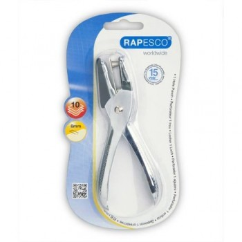 Perforator metalic Rapesco, 1 perforatie, 10 coli, argintiu