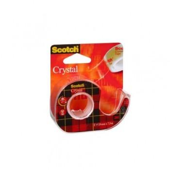 Banda adeziva cu dispenser 3M Scotch Crystal Clear, 19 mm x 7.5 m, transparent