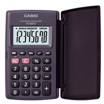 Calculator de buzunar Casio HL-820LV, 8 digits, cu etui, negru