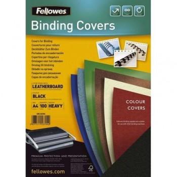 Coperti carton Fellowes A4, 250 gr, imitatie piele, negru, 100/top