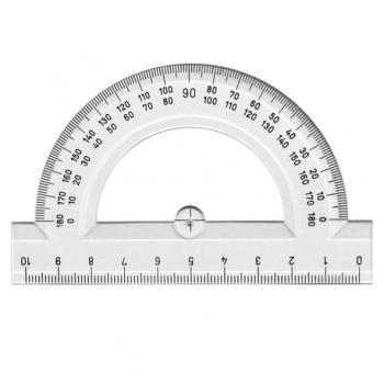 Raportor 180 grade, 10 cm, transparent
