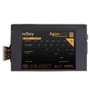 Sursa atx Njoy 600W, Agon 600, Eff 80%, 12V 2.3, ventilator 12mm, nivel zgomot 21dB, 1 x 20 + 4 pin ATX, 1 x 4+4 pin ATX 12V, 2 x 6 pin + 2 PCI- E, 5