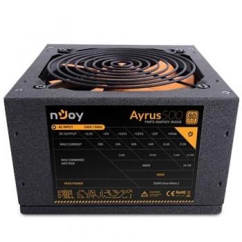 Sursa atx Njoy 500W, Ayrus 500, Eff 80%, 12V 2.3, ventilator 12mm, nivel zgomot 21dB, 1 x 4 + 4 pin ATX 12 V, 4 x sata, 2 x molex, 1 x 20 + 4 pin