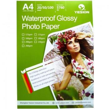 Hartie foto Yesion Waterproof Glossy A4, 180 g/mp, 20 coli/pachet