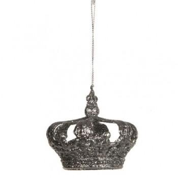 Ornament Edelman, coroana argintie gliterata