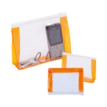 Geanta accesorii Lobe, transparent/portocaliu