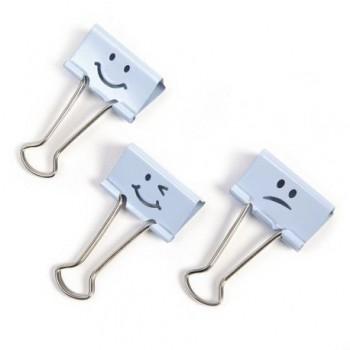 Clipsuri metalice Rapesco Emoji, 19 mm, bleu, 20 bucati/set