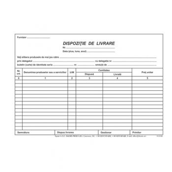 Dispozitie de livrare, A5, hartie offset, 100 file/carnet