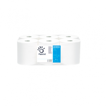 Rola prosop cu derulare centrala, alb, 2 straturi, 108m, 6 role/bax