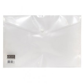 Mapa plastic Skag, A4, inchidere cu capsa, alb