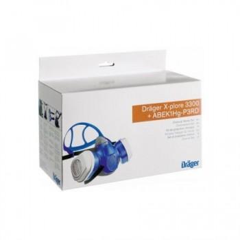 Set pentru lucratori in domeniul chimic  - Semimasca tip  X-plore 3300 cu 2 filtre tip ABEK1Hg-P3